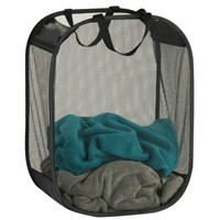Honey-Can-Do™ HMP-03891 Mesh Laundry Basket/Hamper w/ Carrying Handles, Black
