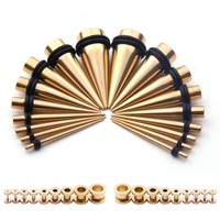 BodyJ4You Gauges Kit 36 Pieces Goldtone Stainless Steel with Screw Fit Plugs 18 Pairs Ear Stretching Set