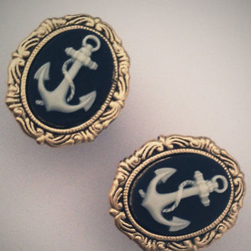 13/16 Inch 20mm Plugs Anchor Nautical Navy Blue by Glamsquared