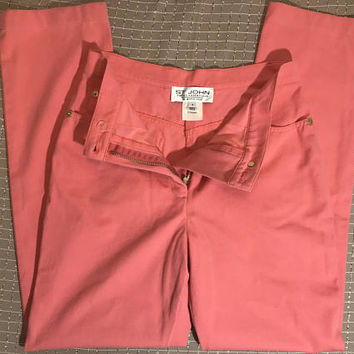 Vtg ST. JOHN by Marie Gray Peach Pastel Pink Pants / Designer High Rise Waist Bright Salmon Jeans / Saint John Sport Essentials Trousers