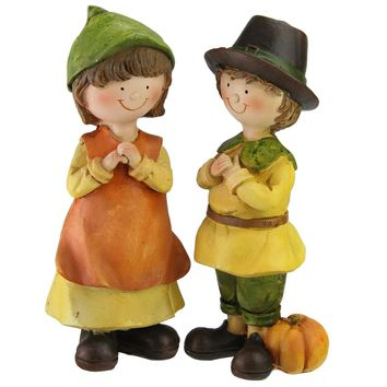 Set of 2 Traditionally Dressed Boy and Girl Pilgrim Thanksgiving Figurines 7.5""