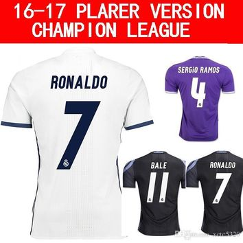 2017 Champions League Player Version Soccer Jersey 2016/17 Real Madrid Home Away 3rd S