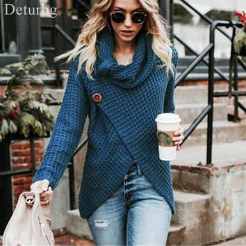 Women Fashion Cross Buttoned Wool Cardigans Ladies Casual Turtleneck Long Sleeve Warm Knitted Sweater 2018 Autumn Winter SW130