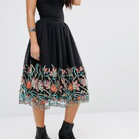 Boohoo Embroidered Hem Skirt at asos.com