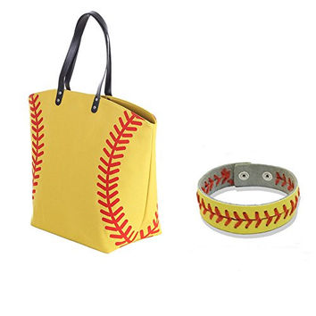 E-FirstFeeling Large Baseball Tote Bag Sports Prints Utility Tote