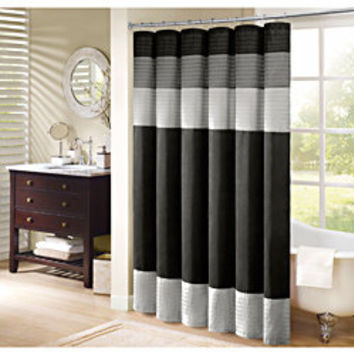 Madison Park Infinity Pieced Faux Silk Shower Curtain | Overstock.com