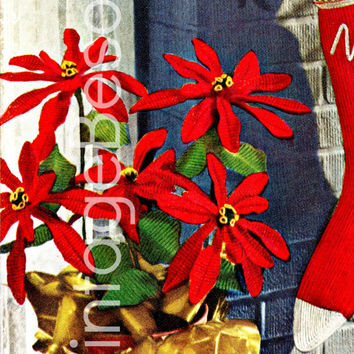 POINSETTIA PATTERN Vintage 1951 Crochet Pattern for Christmas Decorations Holiday Season is Gorgeous and Pet Friendly PDF Instant Download