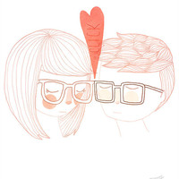 Nerd Kiss - 5 x 7 Illustration Print