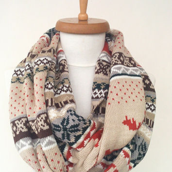 Nordic Scarf, Deer Scarf, Deer Print Infinity Scarf, Double Patterned Scarf Oversized Scarf, Christmas Gift, Men Scarf FAST DELIVERY by DHL