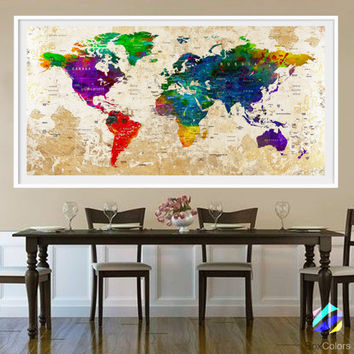 XL Poster Push Pin World Map travel Art Print Photo Paper watercolor Old Wall Decor Home  (frame is not included) (P26) FREE Shipping USA!!!