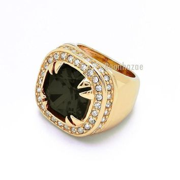 LMFONRC NEW MEN'S BIG CHUNKY GOLD PLATED ICED OUT RICH GANG JET BLACK RING R031G