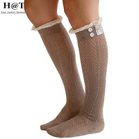 Lace Trim long Knitted Socks