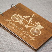 Custom Guest book, Wedding Guestbook, Guest Book, Wedding, Wood Guestbook, Gold letters, Bicycle