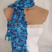 Hand knitted&crocheted blue elegant scarf