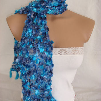 Hand knitted&crocheted blue elegant scarf by Arzus on Etsy