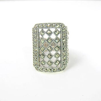 Sterling Silver Marcasite Ring, Open Lacy Checkerboard Design, Statement Knuckle Ring, Marcasite Jewelry, Judith Jack Style