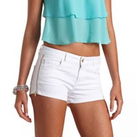 Refuge Side-Zip High-Waisted Shorts by Charlotte Russe - White