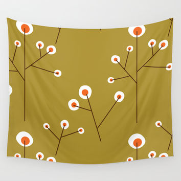 Retro Green Pattern Design Wall Tapestry by All Is One