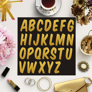 BUY5FOR8 Gold Foil Font Clipart, Gold Alphabet Letters, Uppercase Alphabet Clip Art, Gold Letters, Scrapbooking Clip Art