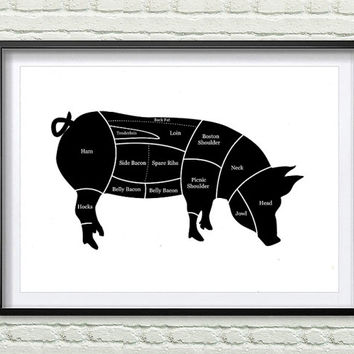 Kitchen Art Print Pig Hog Butcher Diagram Farm Animal Wall Art, black and white Wall Decor *115*