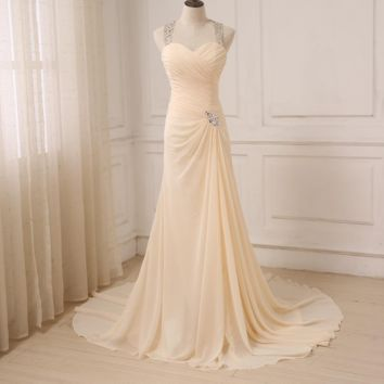 Champagne Chiffon Beach Wedding Dresses Beaded Halter Sleeveless Backless Crystal Mermaid Bride Dress