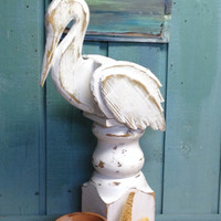 Pelican Planter Statue Beach House Style Coastal Living Decor by CastawaysHall - Ready to Ship