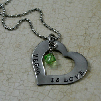 "Handstamped Stainless Steel Heart Washer Necklace ""Vegan is Love"" Vegan Jewelry"