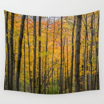 Fall Forest Leaves Wall Tapestry by BravuraMedia