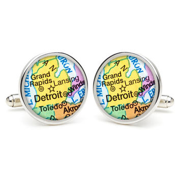 Detroit  city map  cufflinks , wedding gift ideas for groom,gift for dad,great gift ideas for men,groomsmen cufflinks,