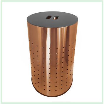 Brushed Copper Laundry Bin & Hamper | 50L Ventilated Stainless Steel Clothes Basket With MDF Lid | Life Time Warranty