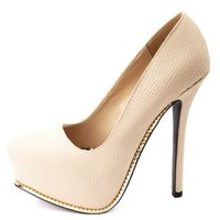 Qupid Snake-Textured Gold-Trimmed Platform Pumps - Nude