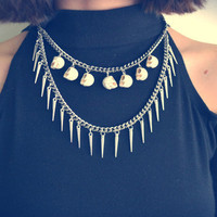 White Howlite Skull & Spike Choker Necklace