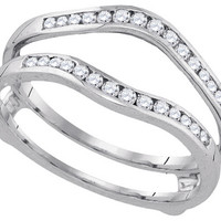 14kt White Gold Womens Round Diamond Ring Guard Wrap Solitaire Enhancer 1/4 Cttw 92866