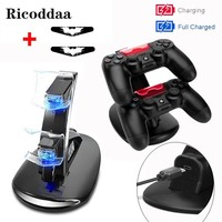 For PS4 Controller LED Dual Charger+USB Charging Cable Charging Dock Station Stand For Sony Playstation 4 PS4 Slim/Pro Accessory