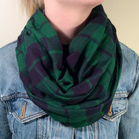 Handmade Infinity Scarf Plaid Flannel - Women,  Men, Double  Layer Circle Scarf -  Dark Blue & Green, Christmas Present, Holiday Gift