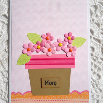Mother's Day Greeting Card with Pink Flowers Note Card for Mom Blank Inside