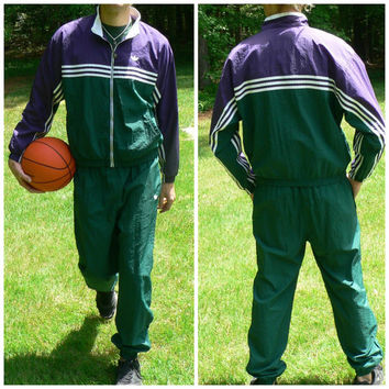 1990's Complete Tracksuit by Adidas - Vintage Jacket & Pants - Fully Lined - Green and Purple - 90s Windbreaker Suit - Dope!