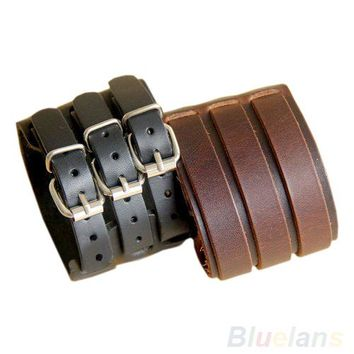 Bluelans Punk Rock New 2 Layer Belt Men Genuine Cow Leather Bracelet 3 Buckle Wristband Cuff Bangle Hot Sale 00JK