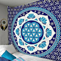 Blue Passion Lotus Love Boho Wall Tapestry
