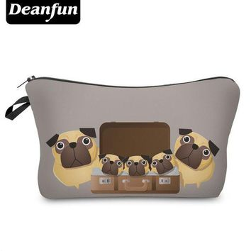 ONETOW Day-First? Deanfun 3D Printed Cartoon Pug Cute Cosmetic Bags Women Toiletry Organizer for Travelling with Zipper 50888