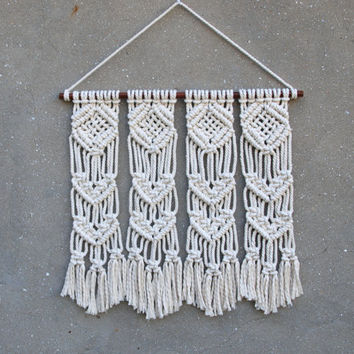 Wall decoration Modern macrame wall hanging Tapestries Fringe wall art Recycled wood cozy home Woven wall decor Eco-friendly housewarming