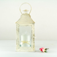 Unique Vintage square Outdoor Lantern/ Shabby Cottage Chic Spring Decor/ French Creamy White Candle Holder/ Wedding Centerpiece