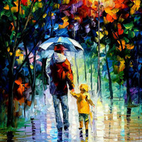 "Rainy Walk With Daddy — PALETTE KNIFE Figures Oil Painting On Canvas By Leonid Afremov - Size: 30"" x 40"" from afremov art"