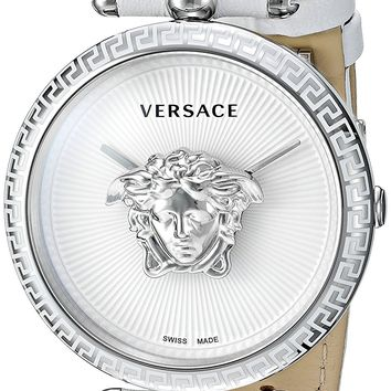 Versace Women's 'Palazzo Empire' Swiss Quartz Stainless Steel and Leather Casual Watch, Color:White (Model: VCO010017)