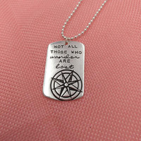 1pcs 1216 Not All Who Wander Are Lost Wanderlust Traveler Necklace Compass Men Women Inspirational Charm Necklaces Pendants Gift