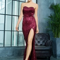 LOVE&LEMONADE Split Thigh Floor Length Sequin Tube Dress