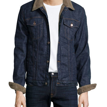 Faux-Fur-Lined Denim Jacket, Indigo