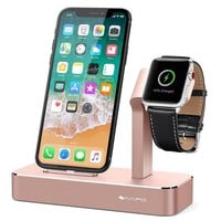 LMFGQ6 iVAPO Apple Watch Series 3 Stand 2 in 1 Aluminum Apple Watch Charging Dock iPhone Charger Station for Apple Watch Series 3/2/1/Nike+ and iPhone X/8/8 Plus/7/7Plus/6s/6s Plus/5 Rose Gold