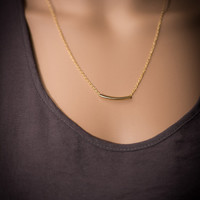 Gold bar necklace, gold Tube pendant, gold pendant, gold filled necklace, everyday necklace