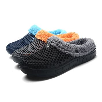 2018 Winter Croc Shoes Beach Sandals Soft Plush Cotton Warm Slides flats Shoes Unisex Floor Home Women Hole Slippers Fishing